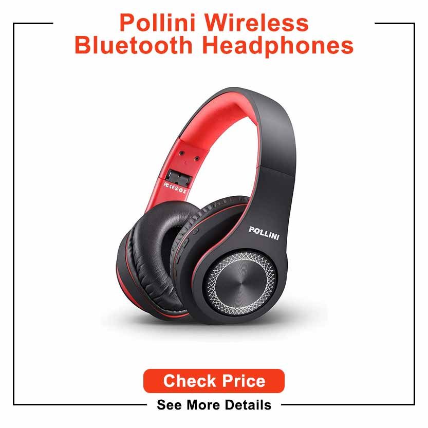 Bluetooth Headphones Over Ear, pollini Wireless Headset V5.0 with Deep Bass, Soft Memory-Protein Earmuffs and Built-in Mic for iPhone/Android Cell