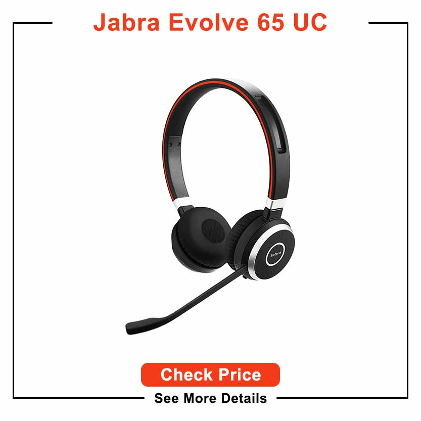 Jabra Evolve 65 UC Wireless Headset, Stereo – Includes Link 370 USB Adapter – Bluetooth Headset with Industry-Leading Wireless Performance