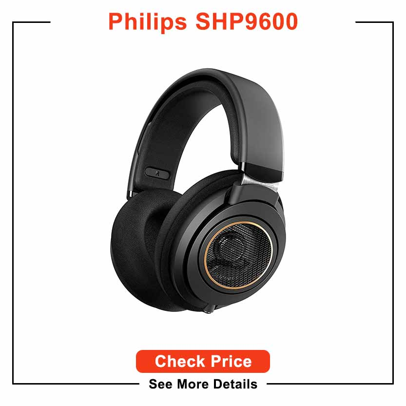 Philips SHP9600 Wired, Over-Ear, Headphones, Comfort Fit, Open-Back 50 mm Neodymium Drivers (Black) + NeeGo Attachable Microphone for Headphones