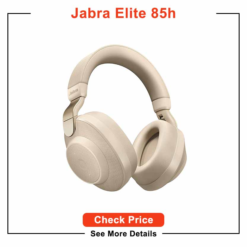 Jabra Elite 85h Wireless Noise-Canceling Headphones, Gold Beige – Over Ear Bluetooth Headphones Compatible with iPhone and Android - Built-in