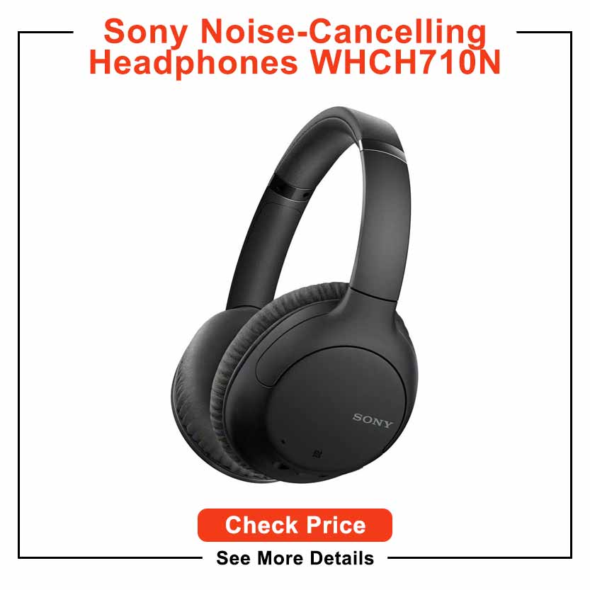 Sony Noise Cancelling Headphones WHCH710N: Wireless Bluetooth Over the Ear Headset with Mic for Phone-Call, Black