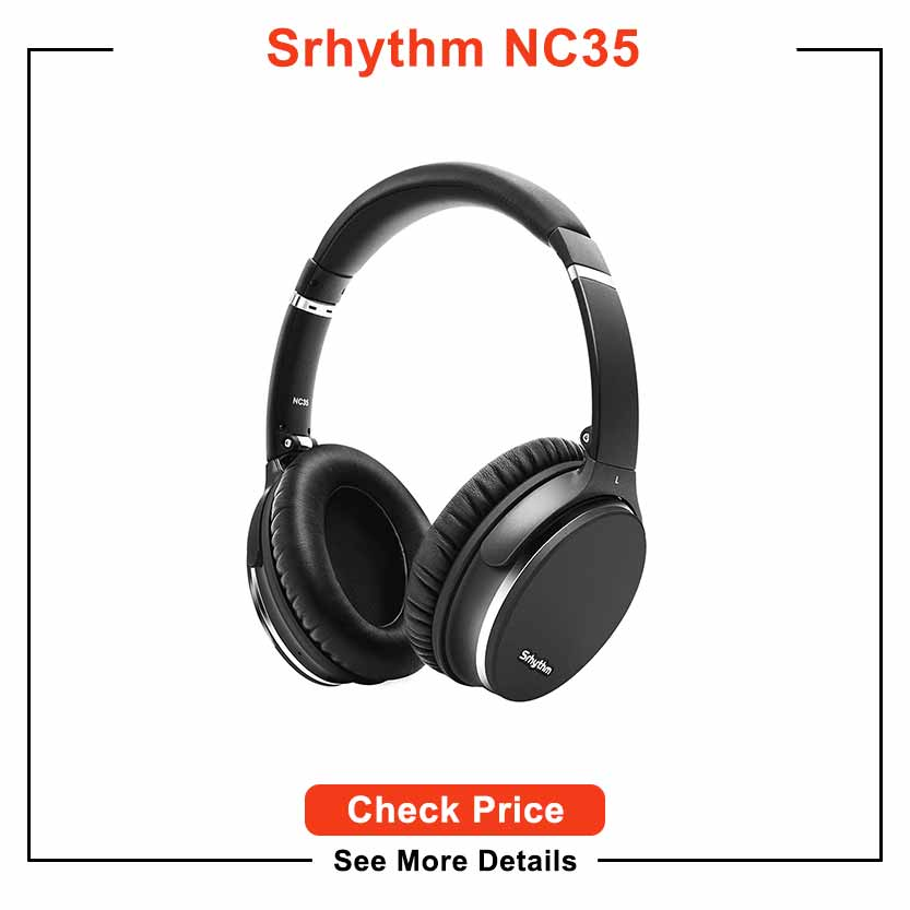 Noise Cancelling Headphones Wireless Bluetooth 5.0,Fast Charge Over-Ear Lightweight Srhythm NC35 Headset with Microphones,Mega Bass 40+ Hours