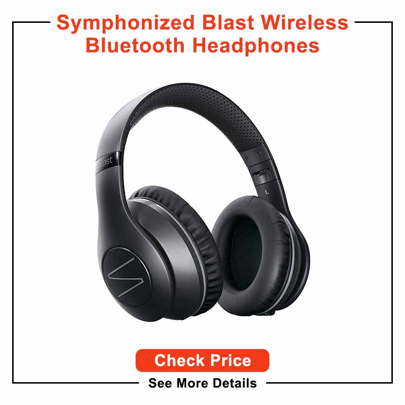 Symphonized Blast Wireless Bluetooth Headphones with Mic, Over Ear Headphones for iPhone, Samsung and More, 22 Playtime Hours for Travel/Work, Deep Bass