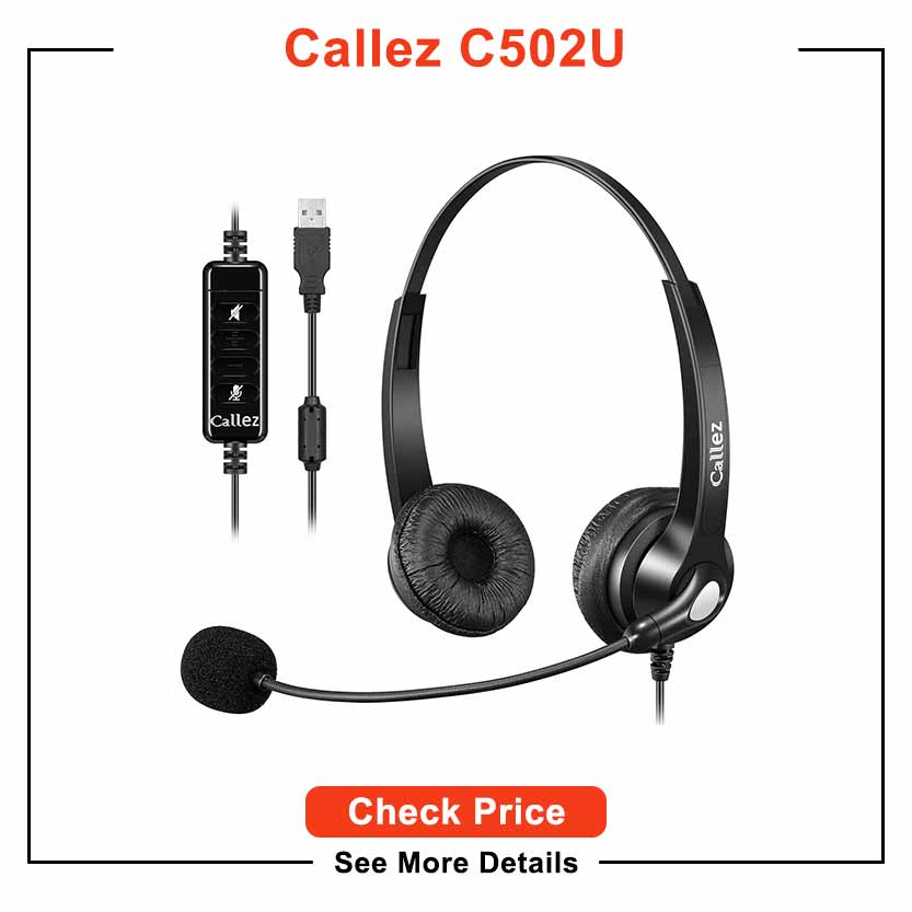 USB Headset with Microphone Noise Cancelling & Audio Controls, Stereo Computer Headphones for Business Skype UC Lync Softphone Call Center Office