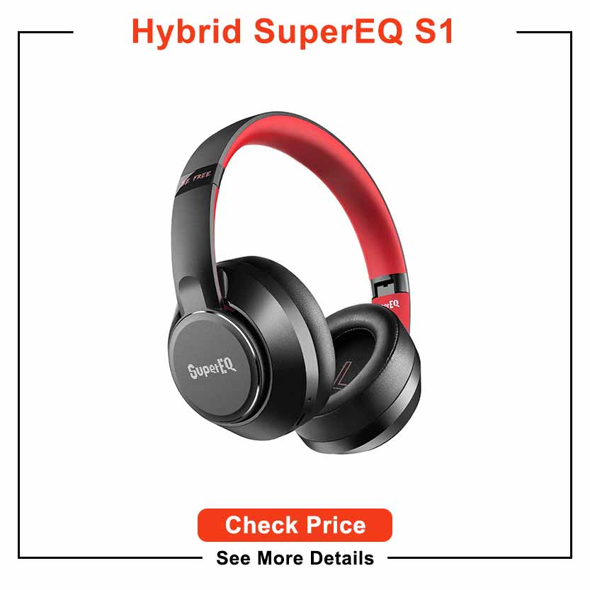 Hybrid Active Noise Cancelling Headphones-SuperEQ S1 Bluetooth 5.0 Over Ear Wireless Wired Headset with Ambient Mode, 45H Playtime, Hi-Fi Deep Bass, Memory