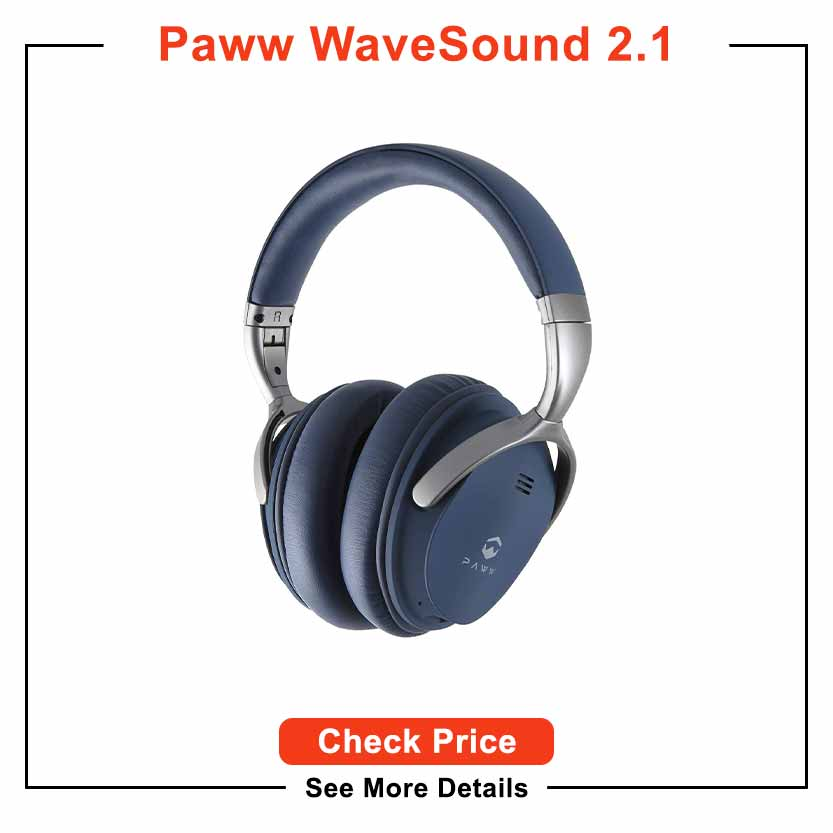 Paww WaveSound 2.1 Wireless Bluetooth Over-The-Ear Foldable Headphones - Headset with Mic, aptX Low Latency (34 ms) / Super-Fast Audio for PC Gaming
