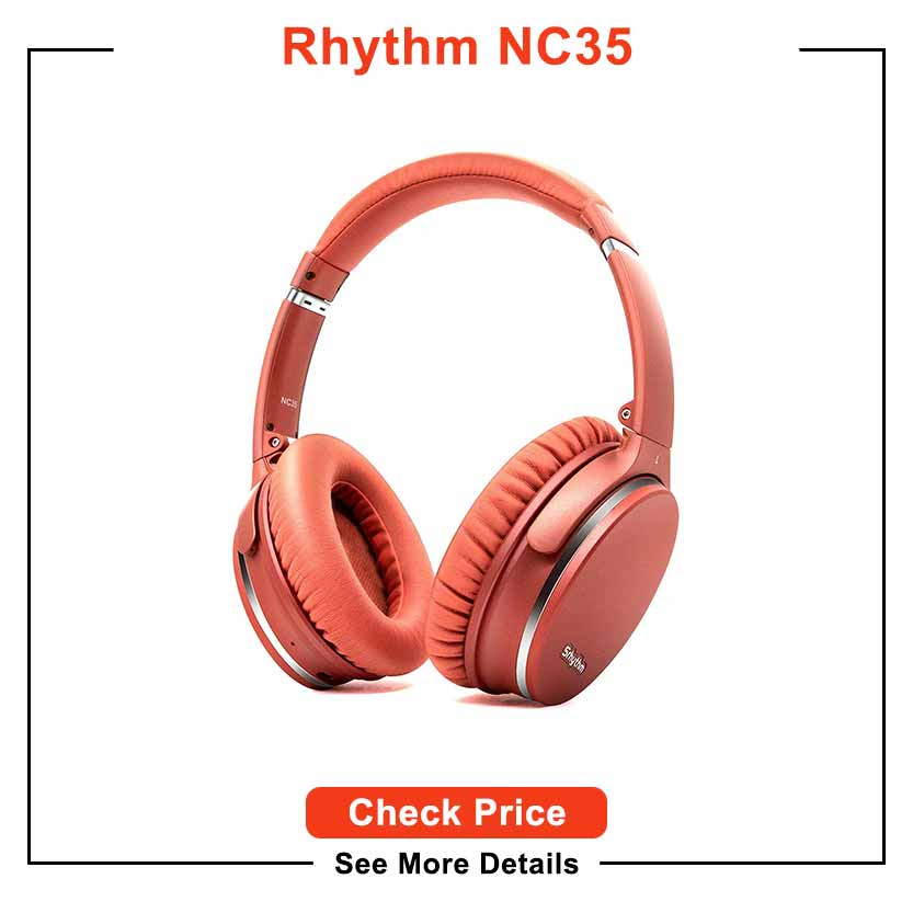 Noise Cancelling Headphones Wireless Bluetooth 5.0, Fast Charge Over Ear Lightweight Srhythm NC35 Headset with Microphones,Mega Bass 40+ Hours