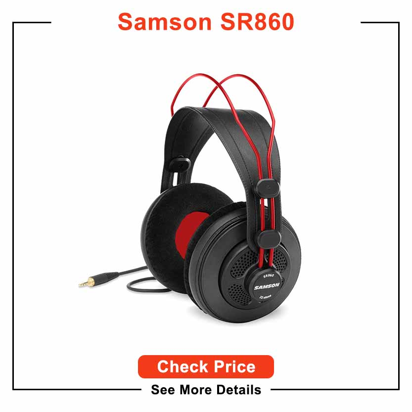 Samson SR860 Over-Ear Professional Semi-Open Studio Reference Small Headphones Headset - for Mobile Music Mixing, Monitoring, Recording & Listening
