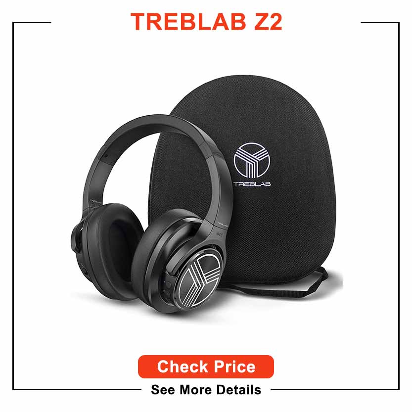 TREBLAB Z2 | Over Ear Workout Headphones with Microphone | Bluetooth 5.0, Active Noise Cancelling (ANC) | Up to 35H Battery Life | Wireless Headphones for