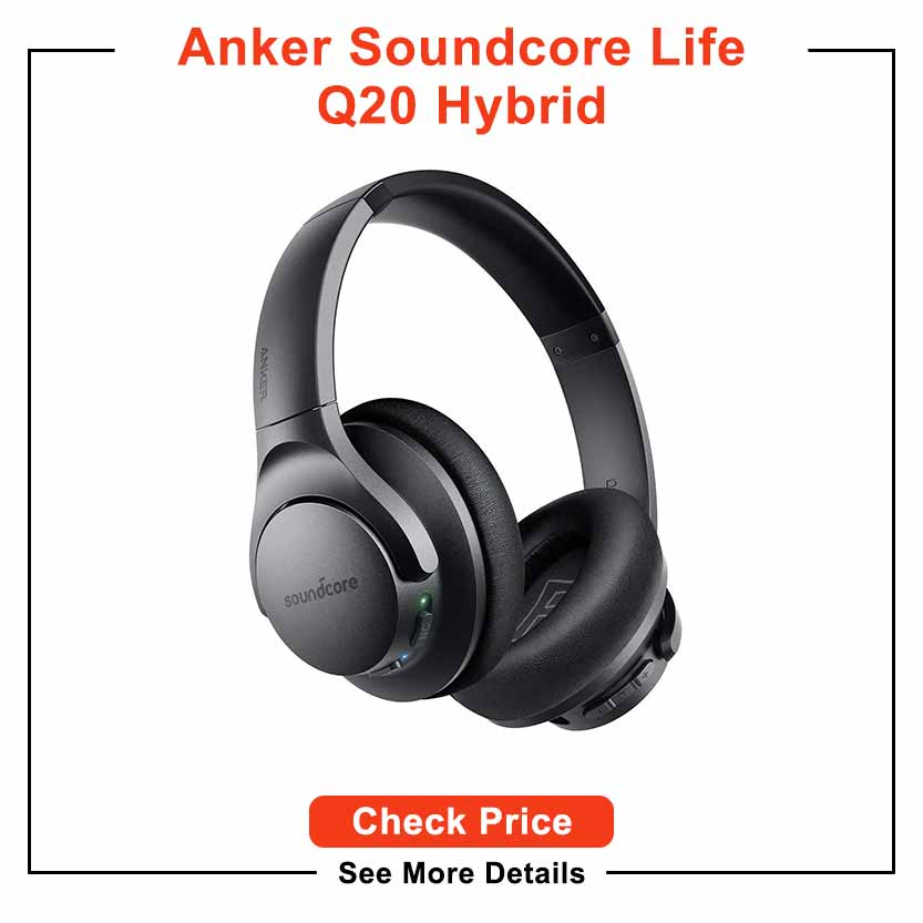 Anker Soundcore Life Q20 Hybrid Active Noise Cancelling Headphones, Wireless Over Ear Bluetooth Headphones, 40H Playtime, Hi-Res Audio, Deep Bass, Memory