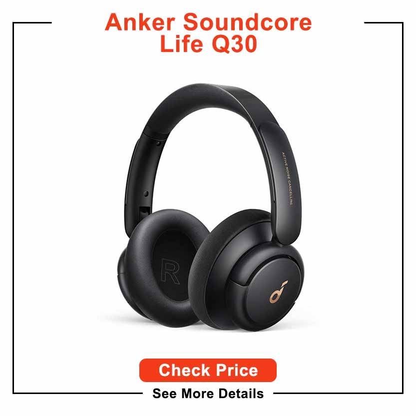 Soundcore by Anker Life Q30 Hybrid Active Noise Cancelling Headphones with Multiple Modes, Hi-Res Sound, Custom EQ via App, 40H Playtime, Comfortable Fit