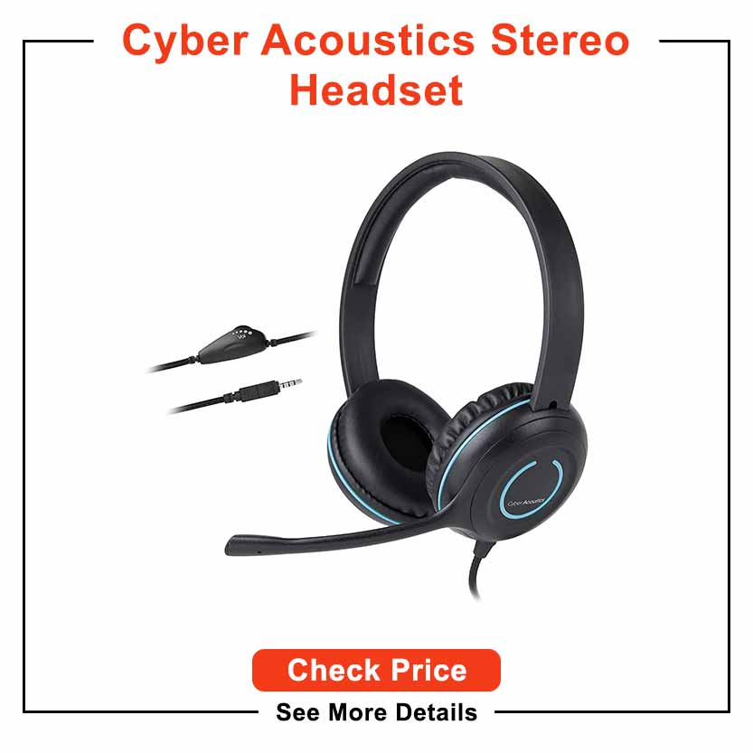Cyber Acoustics Stereo PC Headset, 3.5mm Connection, in-line Control for Volume, Noise Cancelling Mic & Adjustable Mic Boom for PC, Mac & Tablets