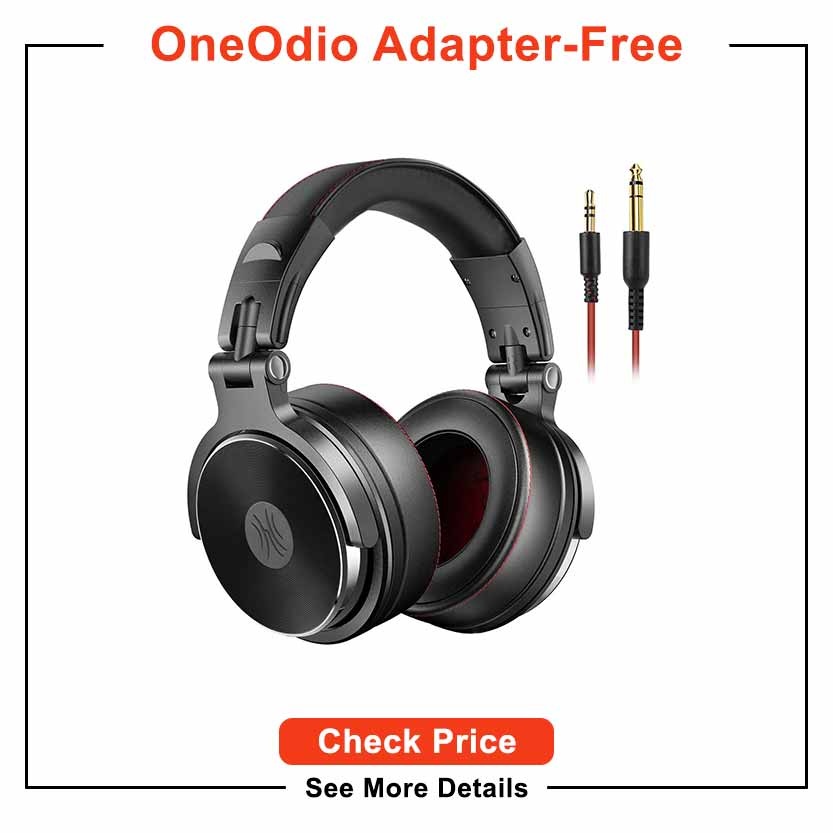 OneOdio Adapter-Free Over Ear Headphones for Studio Monitoring and Mixing, Sound Isolation, 90° Rotatable Housing with Top Protein Leather Earcups, 50mm...