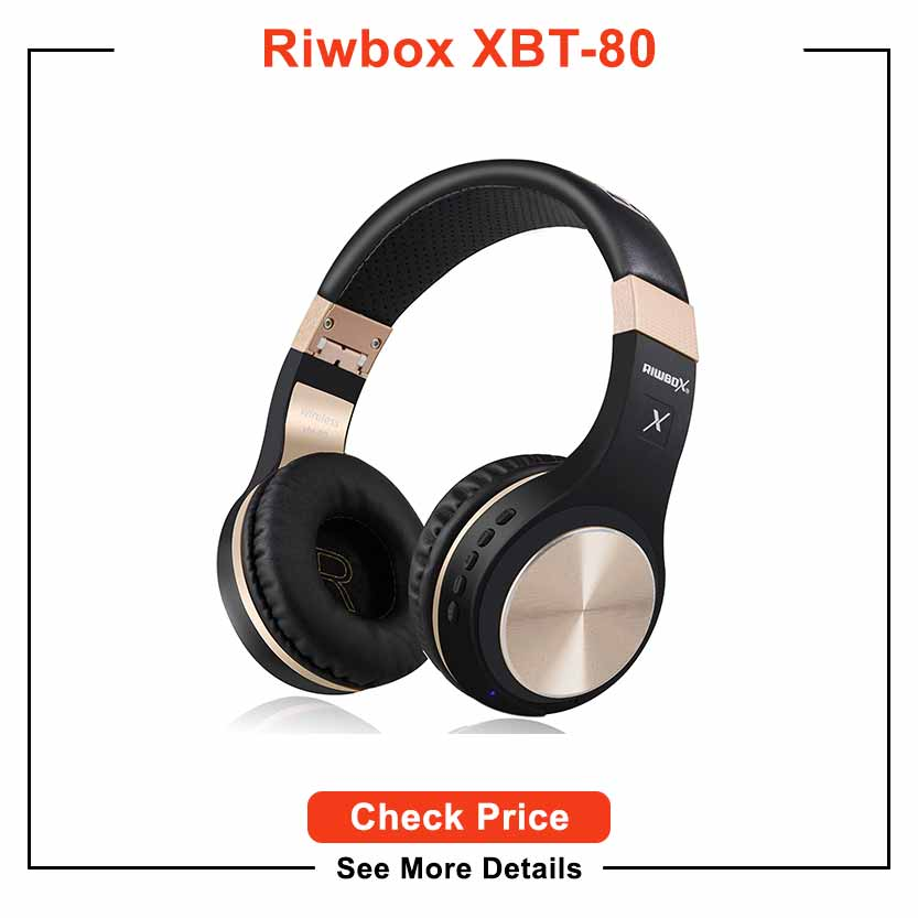 Bluetooth Headphones, Riwbox XBT-80 Folding Stereo Wireless Bluetooth Headphones Over Ear with Microphone and Volume Control, Wireless and Wired Headset for