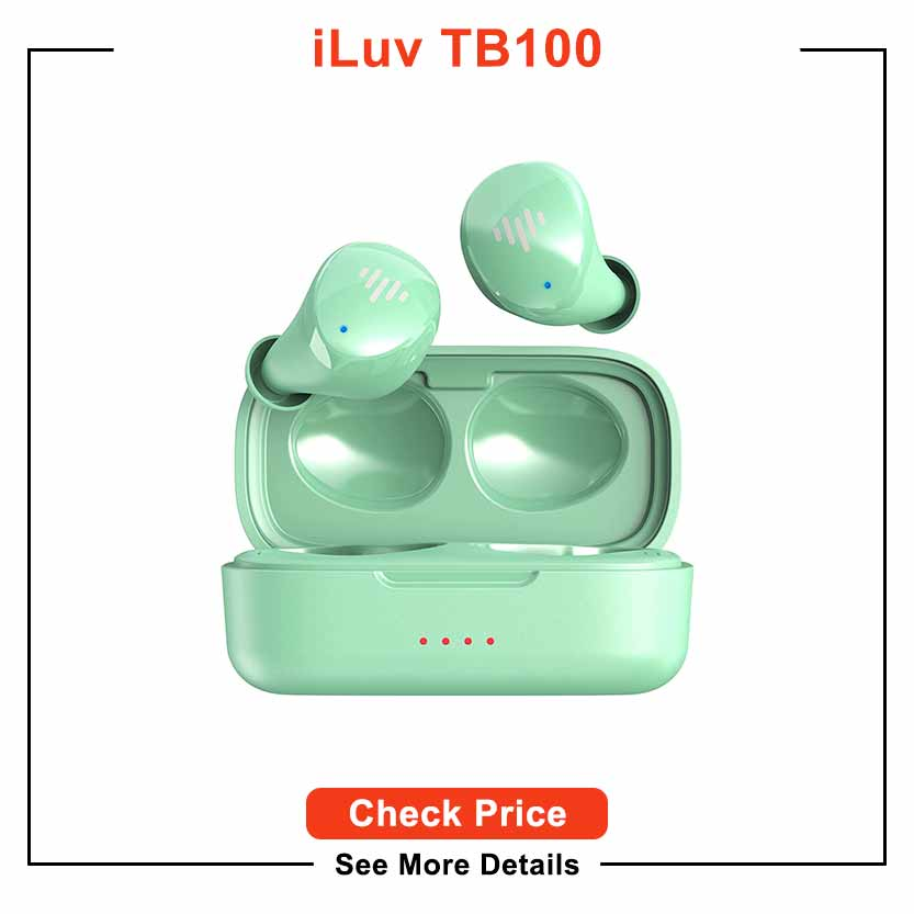 iLuv TB100 Mint Wireless Earbuds Bluetooth in-Ear True Cordless with Hands-Free Call MEMS Microphone, IPX6 Waterproof Protection, Long Playtime; Includes