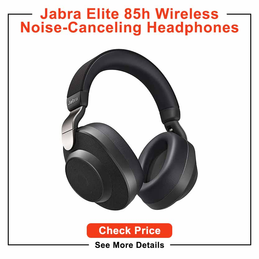 Jabra Elite 85h Wireless Noise-Canceling Headphones, Titanium Black – Over Ear Bluetooth Headphones Compatible with iPhone & Android - Built-in