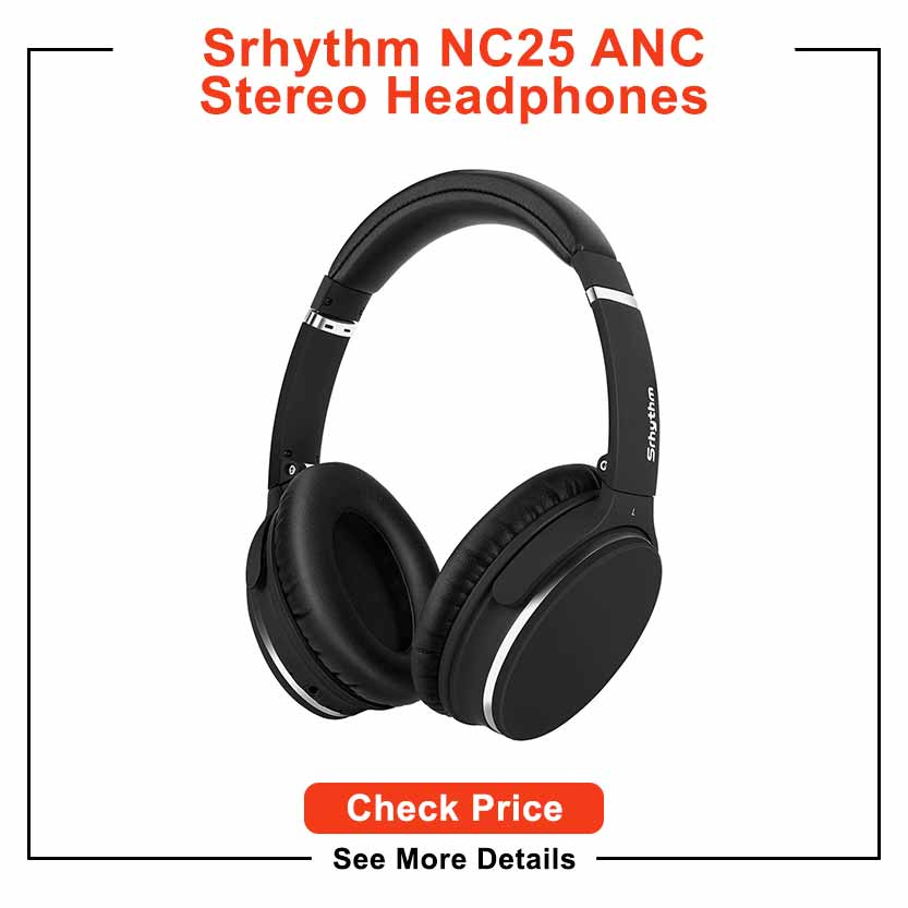 Srhythm Active Noise Cancelling Stereo Headphones Bluetooth 5.0,NC25 ANC Headset Over-Ear with Hi-Fi,Mic,50H Playtime,Voice Assistant,Low Latency Game Mode