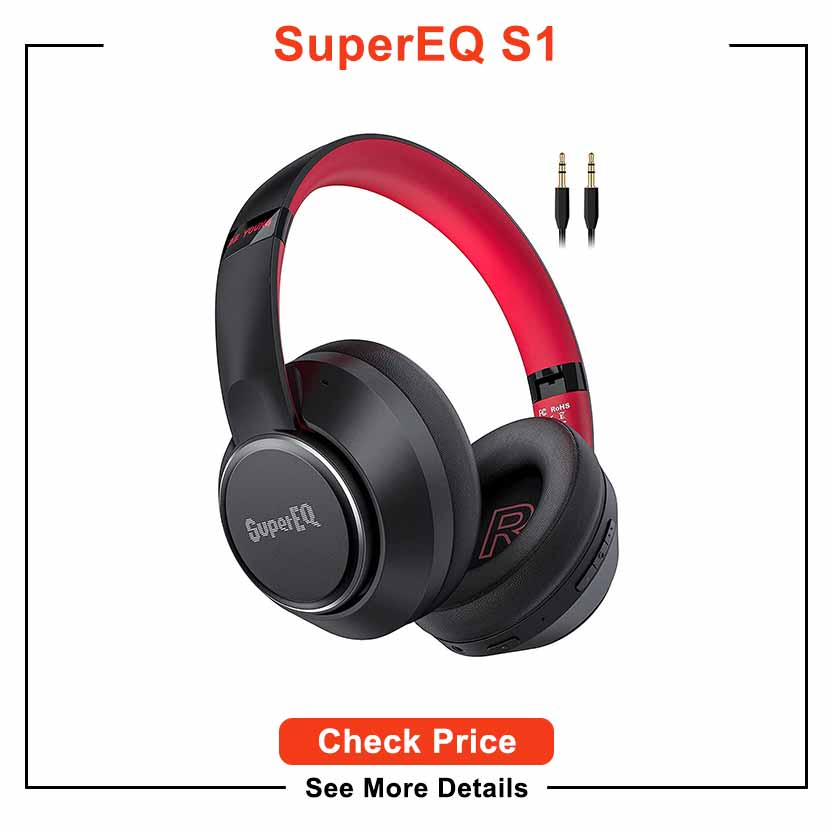 Hybrid Active Noise Cancelling Headphones-SuperEQ S1 Bluetooth 5.0 Over Ear Wireless Wired Headphones with Ambient Mode, 45H Playtime, Hi-Fi Deep Bass for