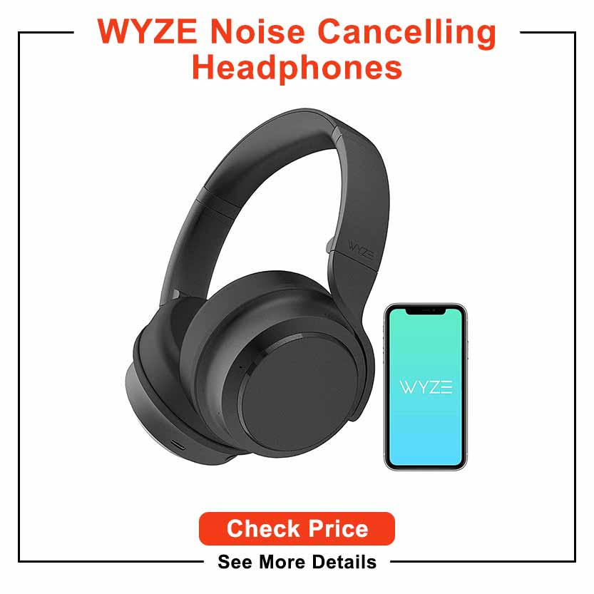 WYZE Noise Cancelling Headphones, Wireless Over The Ear Bluetooth Headphones with Active Noise Cancellation, High-Fidelity Sound, Transparency Mode, Clear