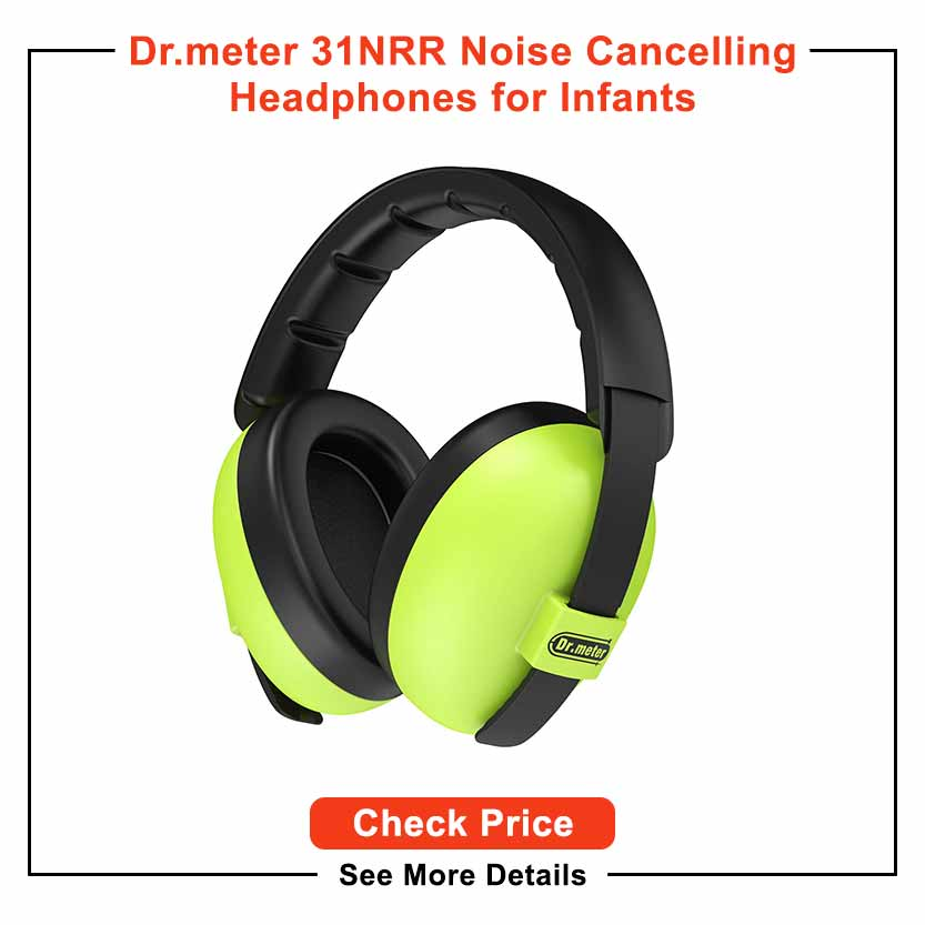 Baby Hearing Protection Earmuffs, Dr.meter 31NRR Noise Cancelling Headphones with Adjustable Head Band for Infants from 0 to 3 Years
